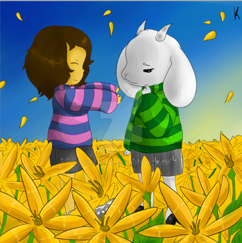 Frisk and Asriel by Lovelatias