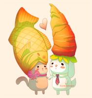 Taiyaki and carrots by BumbleBeesh