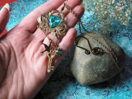 Aqua Heart Necklace through the Looking Glass by artistiquejewelry