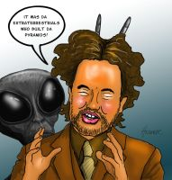 giorgio tsoukalos cartoon by HalHefnerART