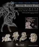 Horse metal badge pin by J-C