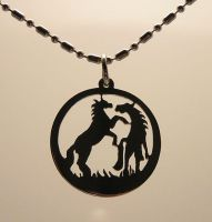 Silhouette Hank+Rocky Pendant by DragonsFlyDesigns