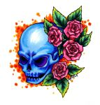 Colored Skull and Roses by mrinx