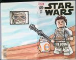 Lego SWTFA Rey and BB-8 Sketch Cover by DanVeesenmeyer