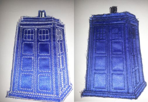 Tardis Applique Trial Run by GlitterFox