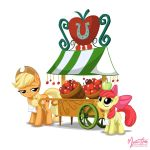 Applejack and Apple Bloom - Apple Stand by mysticalpha