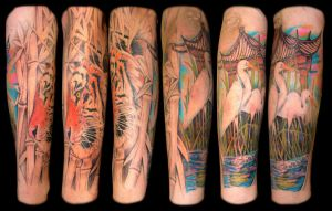 lower arm sleeve tattoo by asussman