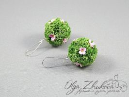 Earrings with grass by polyflowers