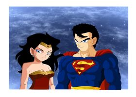 Superman and Wonder Woman(dbz style) by babybluez1996