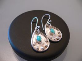 silver turquoise ear rings by irineja