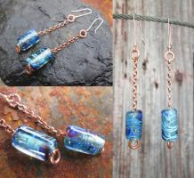 Bubbly silvered glass and copper earrings by copperrein
