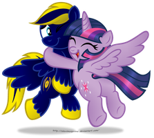 Commission:  Twilight glomping Zephyr by AleximusPrime