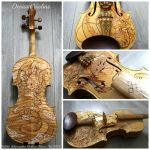 Violin with Dragon Design by Hollow Moon Art by deviantviolins