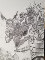 King Cesar vs Mechagodzilla by VectorAttila