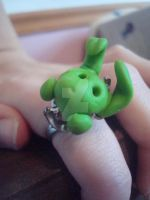 Flying Mint Bunny Ring by LoveMuffin3
