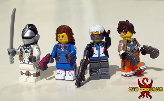 LEGO Overwatch: Genji, D.Va, Soldier:76 and Tracer by Saber-Scorpion