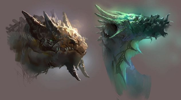 dragon heads by MikeAzevedo