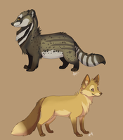 Civet and Fox by Skeleion