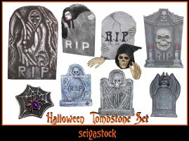 Halloween Tombstone Set by seiyastock