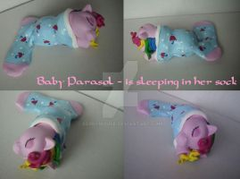 My little Pony Custom G1 Baby Parasol sleeping by BerryMouse