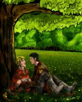 Spring-Time~Merlin and Arthur by fluffpuffgerbil