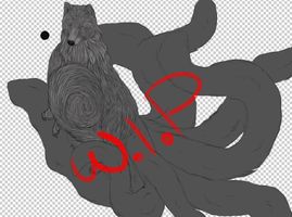 WIP Ninetails Commission by Allixi