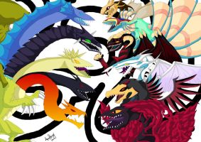 5 God Dragon Vs 6 Signers by LightEndDragon