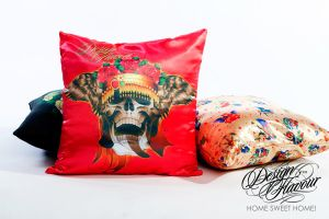 Red skull pillow by DZNFlavour