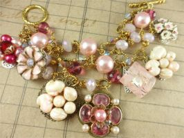 Pink Vintage Chunky Charm Gold Plated Bracelet by DryGulchJewelry