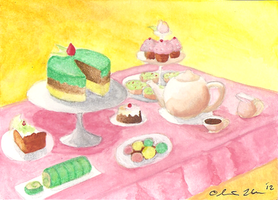 Afternoon Tea Party ACEO by OllyChimera