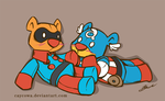 Bucky Bear and Captain Abearica by caycowa