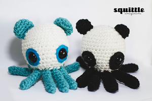 Panda Bear Octopus by Squittle Amigurumi by tiny-moon
