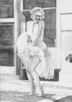 Marilyn Monroe White Dress SKETCH by Yankeestyle94