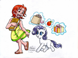 My Little One Piece - Kid Nami and Rarity by Irie-mangastudios