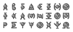 Unown: Greek Alphabet by Wooded-Wolf