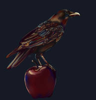 Crow and Apple by nuttychooky