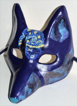 Celestial Fox Mask With Van Gogh Starry Night Mini by LucyinDisguiseMasks