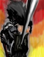 Afro Samurai  in fire by daylover1313