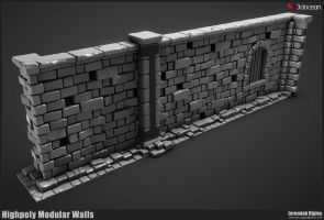 Modular Dungeon Highpoly Walls by JeremiahBigley