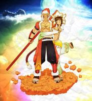 Sun Wukong and Sanzang Fashi by leomon32