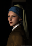 Meisje met de Parel - Johannes Vermeer (3D remake) by Sterrennacht