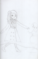 Girl on ice skates - Sketch by LilianNogueira