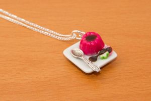 Strawberry Pudding Necklace by Fireya-chan