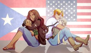 Com: APH - Puerto Rico, America and Plushies :D by PunPuniChu