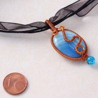 Blue agate pendant by Mag-Dee