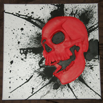 Red Skull Relief Painting by Dizzidragonz