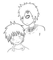 Line Art: Naruto and Gaara by manifest3r