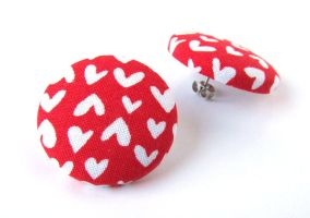 Large red post earrings studs posts white hearts by KooKooCraft