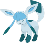 Glaceon, laughing! by Flutterflyraptor