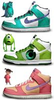 Monsters Inc Nikes by kaycunana